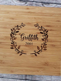 Personalized Engraved Two Tone Bamboo Cutting Board by Sunny Box