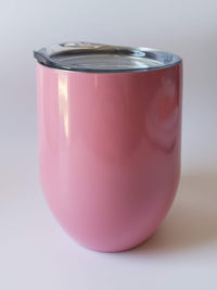 Engraved 9oz Wine Tumbler Light Pink