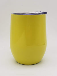 Engraved 9oz Stainless Steel Wine Tumbler Yellow Sunny Box