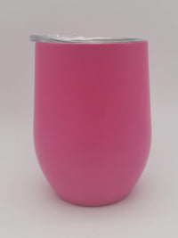 Engraved 9oz Stainless Steel Wine Tumbler Berry Pink