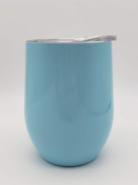 Engraved 9oz Wine Tumbler Light Blue Sunny Box