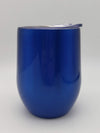 Engraved 9oz Wine Tumbler Blue Metallic