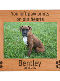 You left paw prints on our hearts - Engraved wood picture frame pet loss memorial - Sunny Box