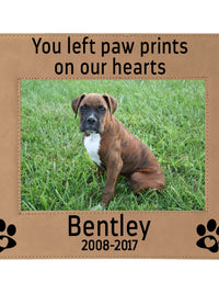 You left paw prints on our hearts - Engraved leatherette picture frame pet loss memorial - Sunny Box