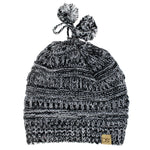 Delia Marled Slinky Knit Ponytail Beanie with Faux Fur Poms & Suede Tab