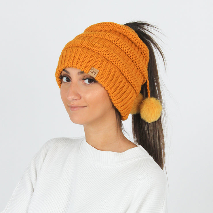 Josie Solid Knit Ponytail Beanie with Faux Fur Poms & Suede Tab