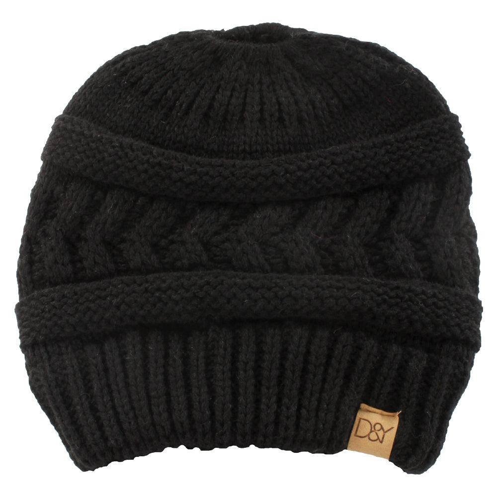 Ella Cable Knit Ponytail Beanie with Suede Tab