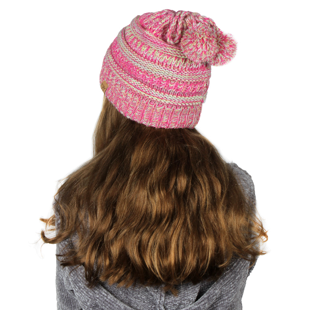 Dina Multi Knit Kids Ponytail Beanie with Faux Fur Poms & Suede Tab