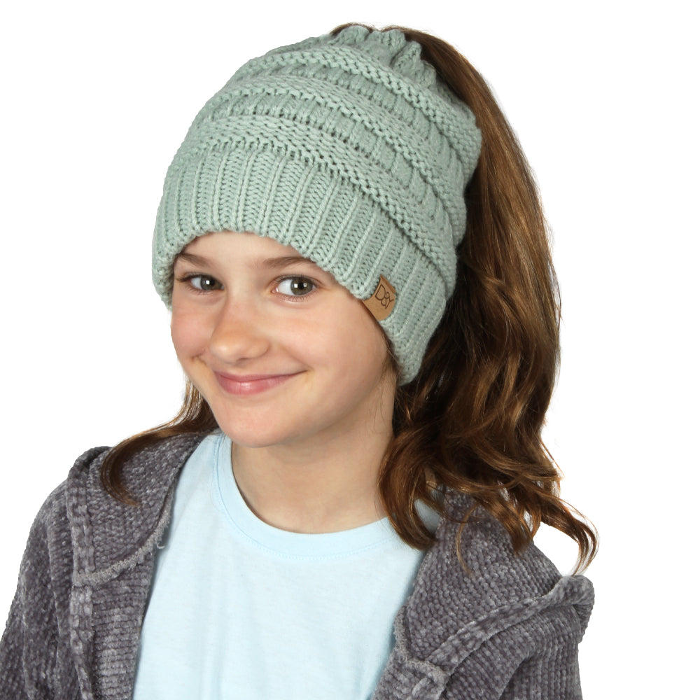 Dina Solid Knit Kids Ponytail Beanie with Faux Fur Poms & Suede Tab
