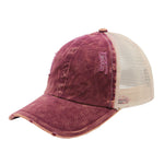 Emily Distressed Mesh Back Cap