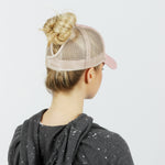 Solid Cotton 5 Panel Mesh Back Pony Tail Velcro Adjustable