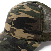 Stephanie Mesh Back Distressed Camo Cap