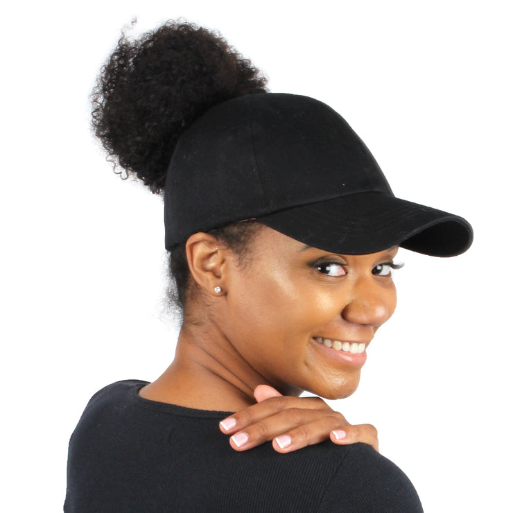 Satin-Lined Black Solid Cotton Cap