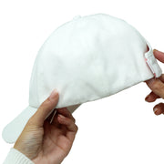 Satin-Lined White Solid Cotton Cap