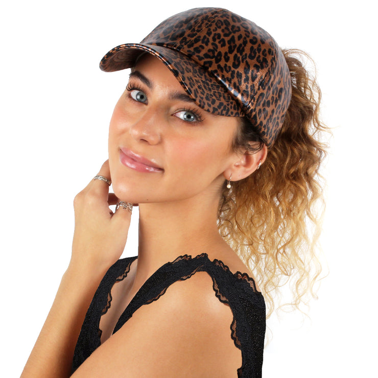 Satin-Lined Brown Shimmery Leopard Print Cap