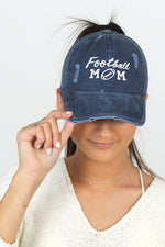 Football Mom Distressed Cotton Cap