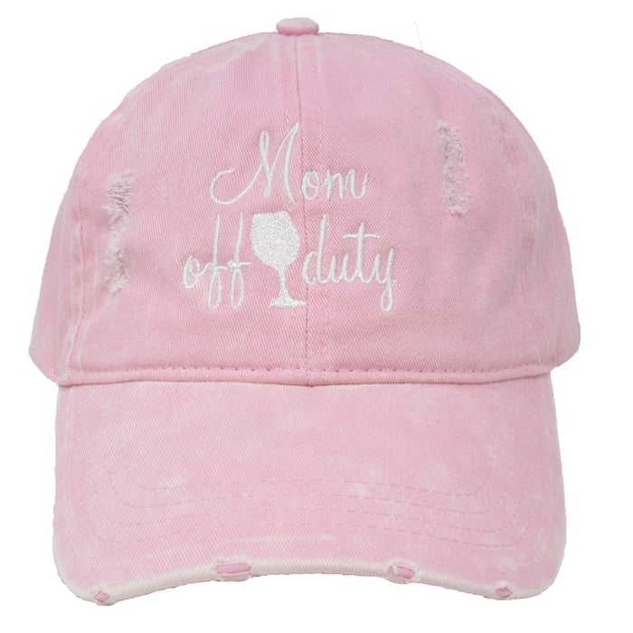 Mom Off Duty Distressed Cotton Cap