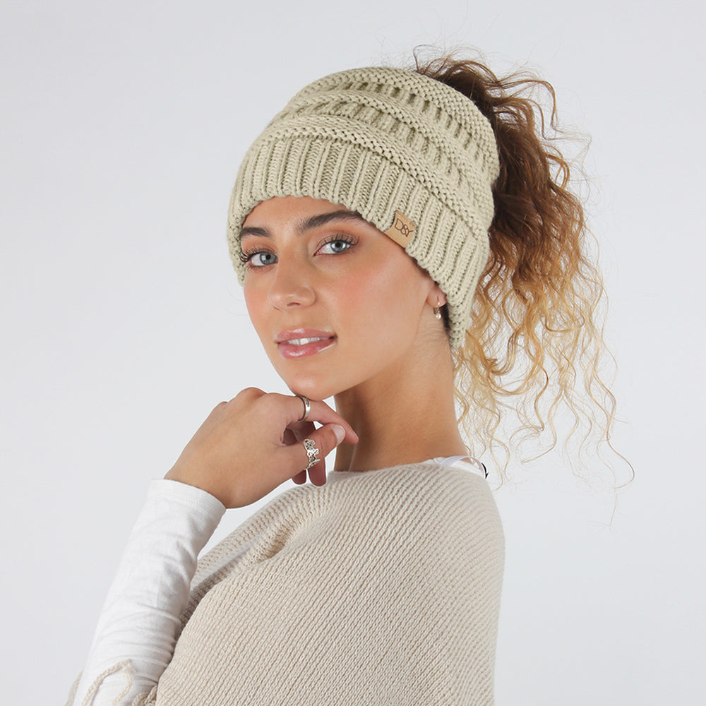 Dana Solid Knit Ponytail Beanie with Suede Tab