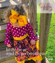 Load image into Gallery viewer, Magenta, Navy, Mustard, Paisley Dress with Bow