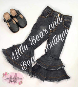 Black Denim Double Wide Belles
