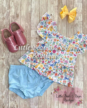 Load image into Gallery viewer, Bunnies, Birds & Flowers Peplum & Bummie Set