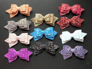 Solid Sparkly 5 Inch Bow on Alligator Clip
