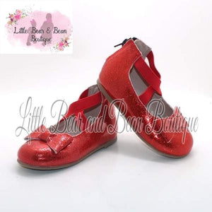 Dorothy Red Ballet Flats with Bow Accent
