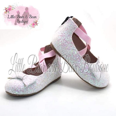 Snow Kisses Ballet Flats with Bow Accent