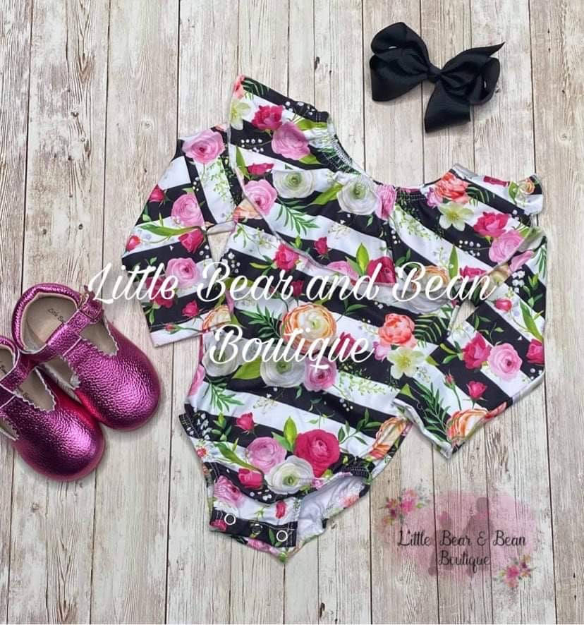 Black and White Striped Floral Leo