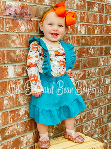 Pumpkin Truck Teal Suede Suspender Set