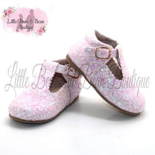 Load image into Gallery viewer, Dazzling Pink Glitter T Strap Shoes