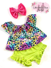 Load image into Gallery viewer, Neon Rainbow Cheetah Bummie Set