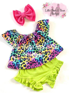 Neon Rainbow Cheetah Bummie Set