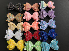 Load image into Gallery viewer, Glitter Double Stacked 3 Inch Bows on Alligator Clip