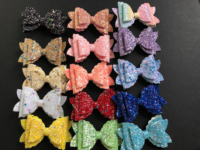 Glitter Double Stacked 3 Inch Bows on Alligator Clip