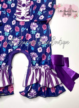 Load image into Gallery viewer, Purple Floral Belle Romper
