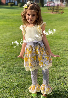 Gray and Yellow Floral Belle Legging Set