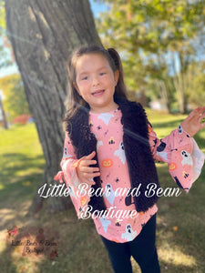Ghosts, Cats, and Spiders Belle Sleeve Set with Fur Vest