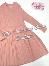 Load image into Gallery viewer, Pleated Sweater Dress- Blush