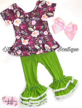 Load image into Gallery viewer, Plum Floral Peplum Olive Belle Legging Set