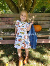 Load image into Gallery viewer, Pumpkin Truck Peasant Sleeve Dress