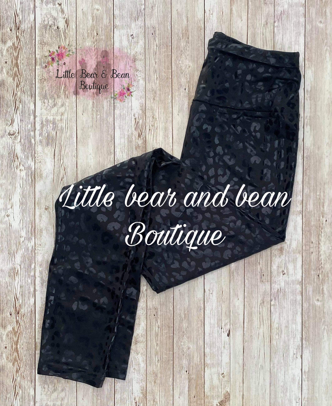 Ladies Leggings- Black Leopard Embossed Full Length
