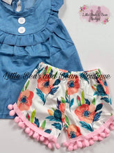 Load image into Gallery viewer, Denim and Floral Shorts Set