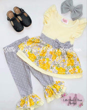 Load image into Gallery viewer, Gray and Yellow Floral Belle Legging Set