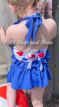 Load image into Gallery viewer, Red, White, and Blue Skirted Ruffle 2 Piece Swim Suit
