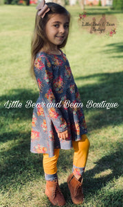 Mustard and Gray Floral Set