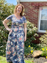 Load image into Gallery viewer, Ladies Blue Floral Jersey Maxi
