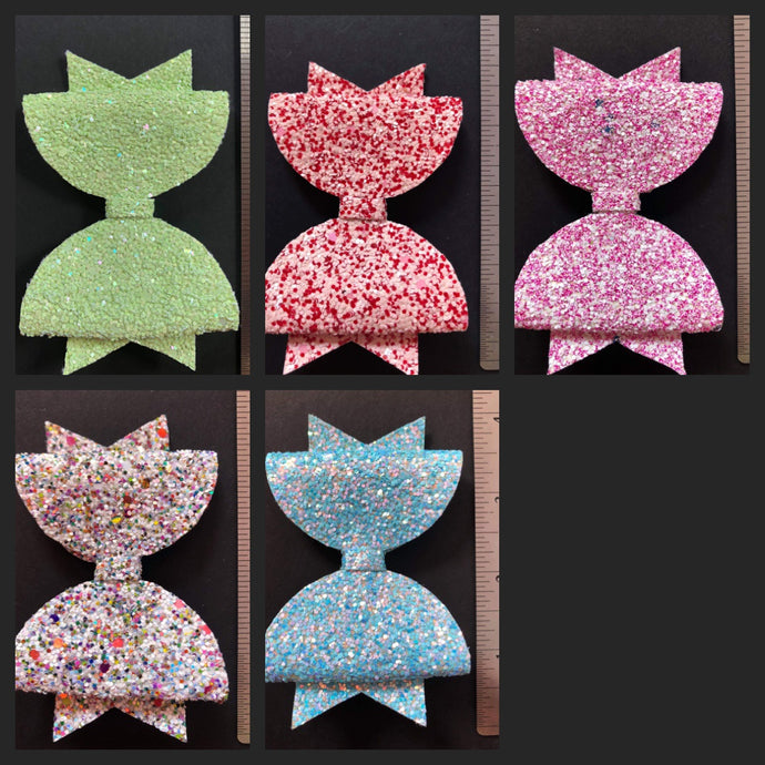Solid and Multi Sparkle 4 Inch Bow on Alligator Clip