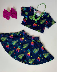 Pineapple Crop Top Skirt Set