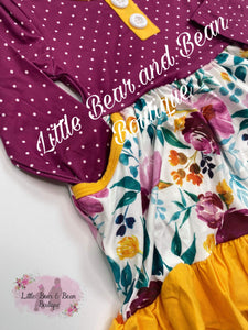 Magenta / Mustard Floral Pocket Dress